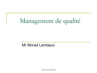 Management de qualit�