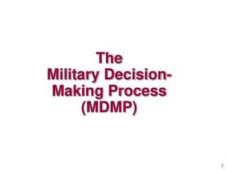 The Military Decision-Making Process (MDMP)