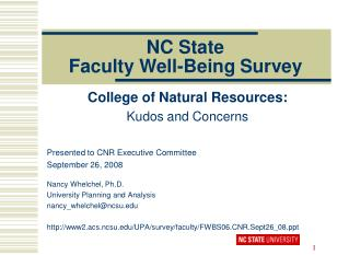 NC State Faculty Well-Being Survey