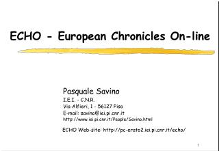 ECHO - European Chronicles On-line