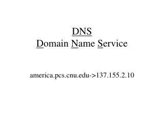 DNS D omain  N ame  S ervice