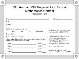 13th Annual CNU Regional High School Mathematics Contest Registration Form