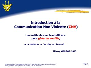 Introduction à la  Communication Non Violente ( CNV )