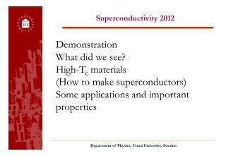 Superconductivity 2012