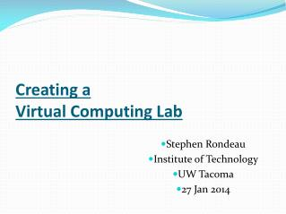 Creating a  Virtual Computing Lab