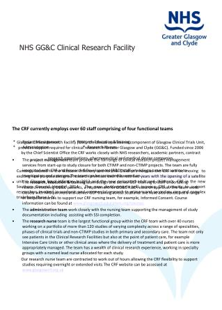 NHS GG&C Clinical Research Facility