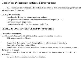 Gestion des événements, systémes d'interruptions