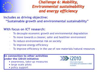Challenge 6: Mobility, Environmental sustainability  and energy efficiency