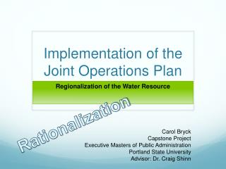 Implementation of the Joint Operations Plan