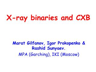 X-ray binaries and CXB