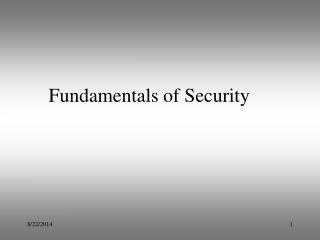Fundamentals of Security