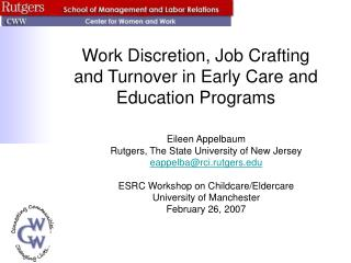 Work Discretion, Job Crafting and Turnover in Early Care and Education Programs