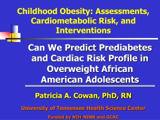 Can We  Predict  Prediabetes  and Cardiac Risk Profile in Overweight African American Adolescents