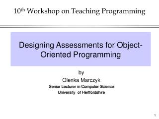 10 th  Workshop on Teaching Programming