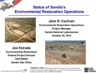 Status of Sandia's  Environmental Restoration Operations