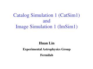 Catalog Simulation 1 (CatSim1)  and  Image Simulation 1 (ImSim1)