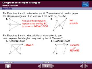 Congruence in Right Triangles