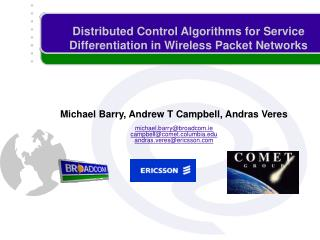 Distributed Control Algorithms for Service Differentiation in Wireless Packet Networks