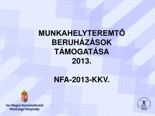 MUNKAHELYTEREMTŐ BERUHÁZÁSOK TÁMOGATÁSA 2013. NFA-2013-KKV.