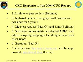 CXC Response to Jan 2004 CUC Report