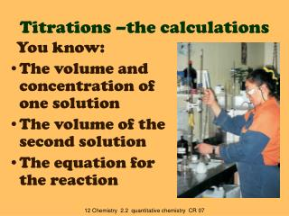 Titrations –the calculations