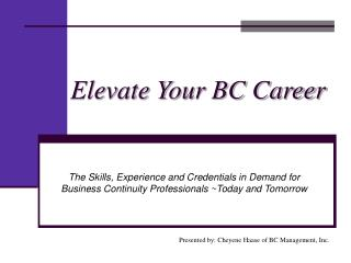 Elevate Your BC Career