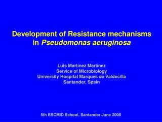 Development of Resistance mechanisms in  Pseudomonas aeruginosa Luis Martínez Martínez