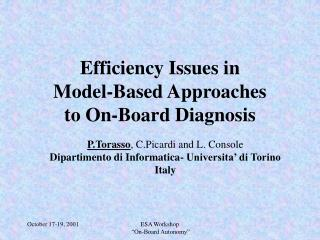 Efficiency Issues in  Model-Based Approaches to On-Board Diagnosis