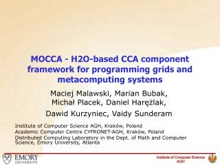 MOCCA - H2O-based CCA component framework for programming grids and metacomputing systems