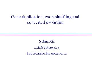Gene duplication, exon shuffling and concerted evolution