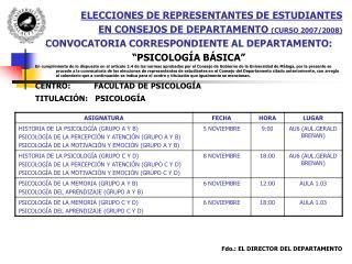ELECCIONES DE REPRESENTANTES DE ESTUDIANTES  EN CONSEJOS DE DEPARTAMENTO  (CURSO 2007/2008)