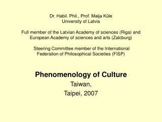Phenomenology of Culture Taiwan,  Taipei, 2007