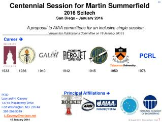 Centennial Session for Martin Summerfield 2016 Scitech  San Diego - January 2016