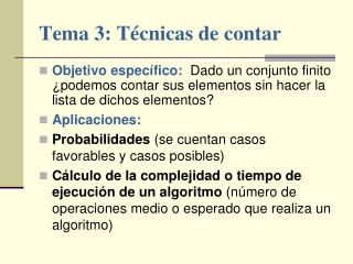 Tema 3: Técnicas de contar