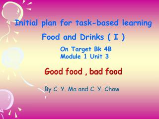 Initial plan for task-based learning Food and Drinks ( I )   On Target Bk 4B  Module 1 Unit 3