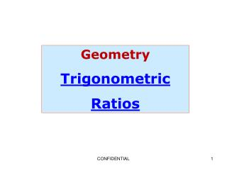 Geometry Trigonometric Ratios