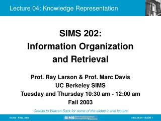 Lecture 04: Knowledge Representation
