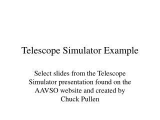 Telescope Simulator Example