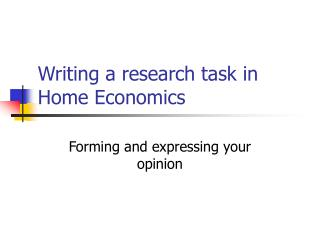 Writing a research task in Home Economics