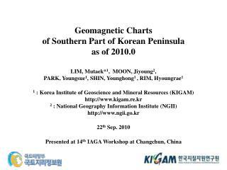 Geomagnetic Charts  of Southern Part of Korean Peninsula  as of 2010.0