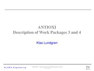 ANTIOXI Description of Work Packages 3 and 4