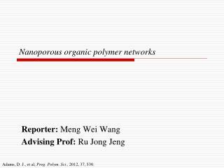 Nanoporous organic polymer networks