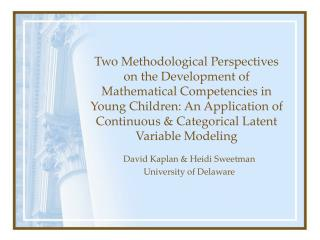 Two Methodological Perspectives on the Development of Mathematical Competencies in Young Children: An Application of Con