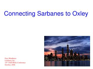Connecting Sarbanes to Oxley