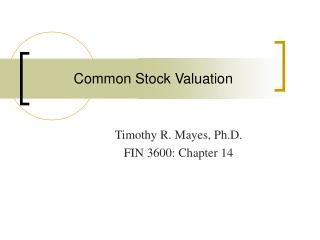 Common Stock Valuation