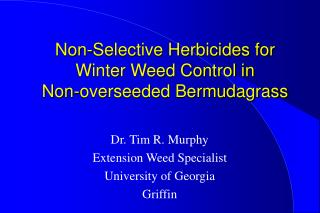Non-Selective Herbicides for Winter Weed Control in  Non-overseeded Bermudagrass