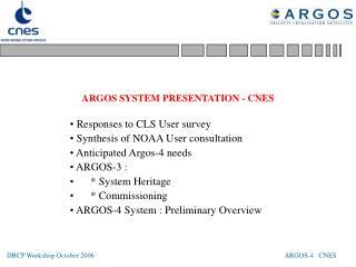 ARGOS SYSTEM PRESENTATION - CNES
