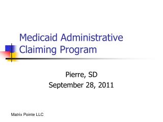Medicaid Administrative Claiming Program