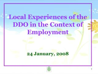 Local Experiences of the DDO in the Context of Employment 24 January, 2008