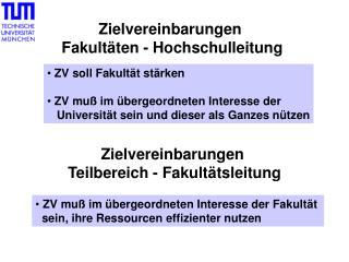 Zielvereinbarungen  Fakultäten - Hochschulleitung